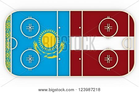 Kazakhstan vs Latvia. Ice hockey competition 2016. National flags on playground. 3D rendering