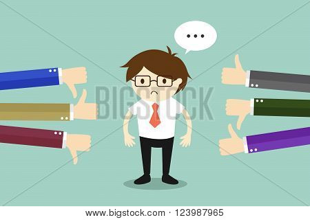 Business concept, Businessman get feedback from other people. Vector illustration.