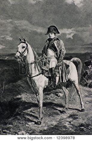 napoleon bonaparte on the horse  - antique lithographic portrait