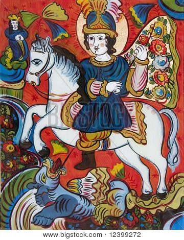 old folk glass icon of St.George