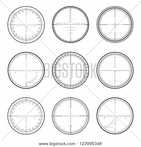 Set of military crosshair sniper scopes isolated on white background. Vector illustration.