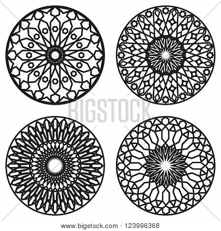 Set Of moroccan Mandalas. Vector Oriental Circle Ornament.