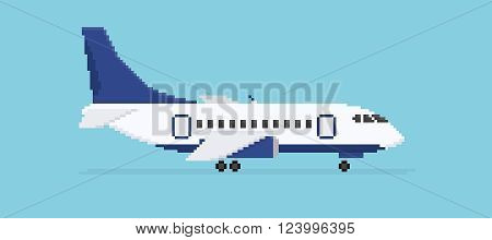 Pixel art plane isolated on blue background