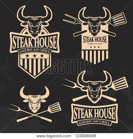 Set of steak house emblems templates. Grill. Barbecue and grill labels badges logo and emblems. Steak house restaurant menu design elements