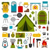 Camping icons collection. Camping kit of hike outdoor elements. Camping gear collection. Binoculars bowl barbecue boat lantern shoes hat tent and other camping tools and items. Vector on white poster