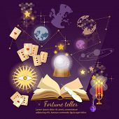 Fortune teller crystal ball magic book astrology signs poster