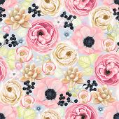 Seamless soft colorful pattern with anemones, ranunculus, succulents and wild Privet Berry in vintage watercolor style, vector illustration. poster