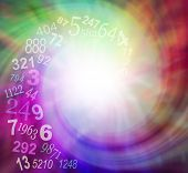 Spiraling Numbers Energy - random transparent spiraling numbers swirling towards the center of an ethereal multicolored spiraling energy field with plenty of copy space poster