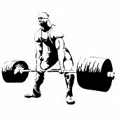 illustratoin sketch Weightlifter with barbell. Deadlift powerlifting poster