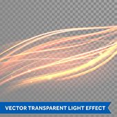 Vector magic glowing spark swirl trail effect on transparent background. Boken glitter wave line with flying sparkling flash lights. poster