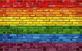Gay pride flag on a brick wall - Illustration, Rainbow flag on brick textured background, Flag of gay pride movement painted on brick wall,Gay and transgender community in brick style poster