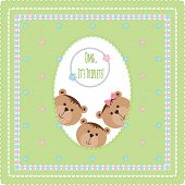 Three happy baby triplets. Baby arrival announcement card . Triplets baby boys, girl  shower card, cute newborn baby triplets. Teddy bears, kid style greeting card vector background poster