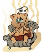 home cat with flower sits in easy chair (can be used for printing and web) poster