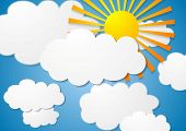 Bright cloudscape with sun. Vector white clouds on blue sky with sunshine. Nature graphic design illustration with clouds and sun poster