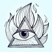 An eye with pyramid in fire on background. Alchemy masonic symbol. Vector illustration poster