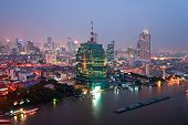 Night View of Bangkok from high skyscraper. Thailand. poster