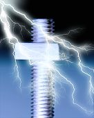 Lightning striking nut and bolt. Concepts: teamwork poster