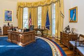 Little Rock AR/USA - circa February 2016: Replica of White House's Oval Office in William J. Clinton Presidential Center and Library in Little Rock Arkansas poster