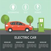 Electric car flat infographic concept. Electric car on charging station. Vector Electric car infographic with icons. poster