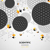 Abstract carbon particles. Vector illustration. Atoms. Molecular geometric technology concept background. Scientific future backdrop. 3D spheres, fullerene. Wireframe elements. poster