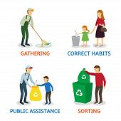 Vector set of cartoon people gathering garbage. Vector illustration of characters gathering garbage and plastic waste for recycling. Care of the nature. poster