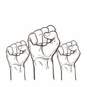 Raised fist. Strong fist on a white background. Mans hand. Male fist. Symbol of power and authority. Symbol of good luck and success. Fist icon. Painted vector fist. Fist sketch poster