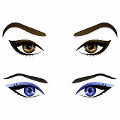 Set of realistic cartoon vector female eyes and eyebrows with different colors and fashion make up. Brown and blue eyes and brows design element body parts isolated on white background. Eyes close up poster