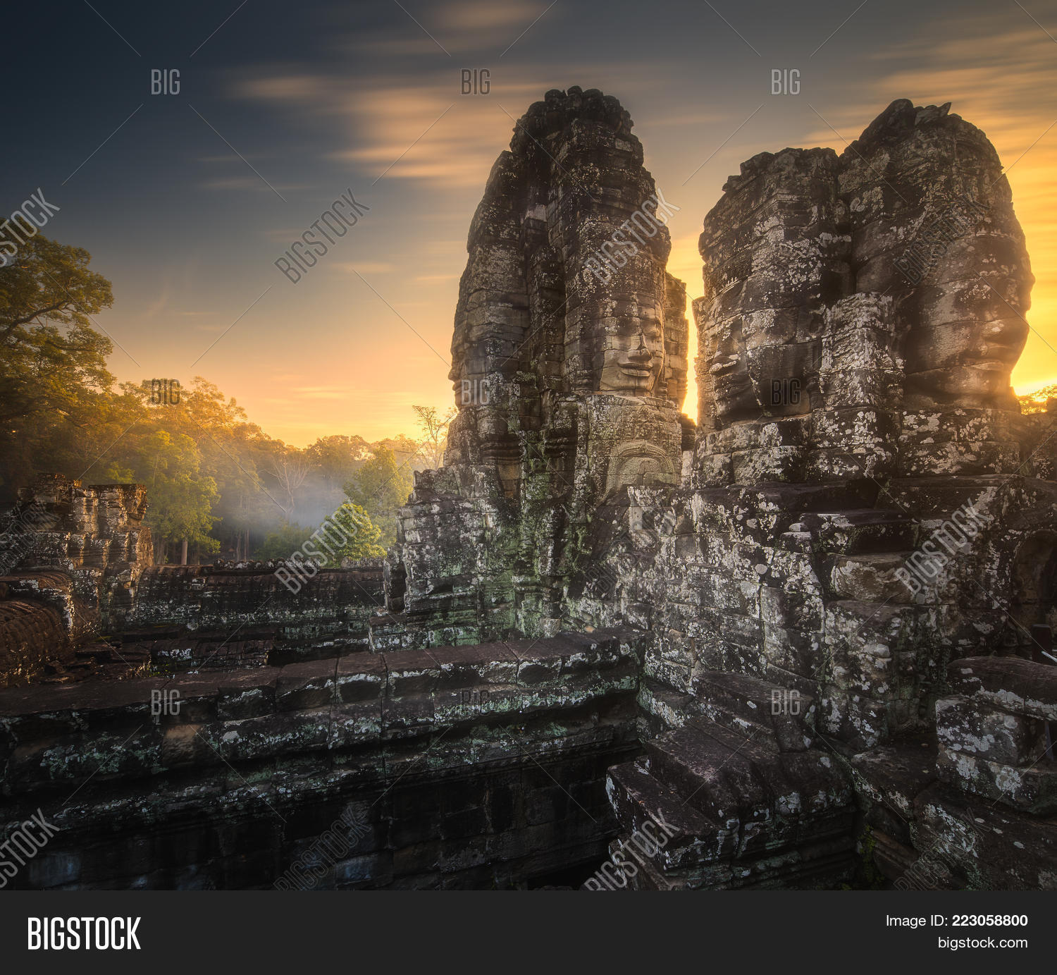architecture sunrise view of ancient powerpoint template