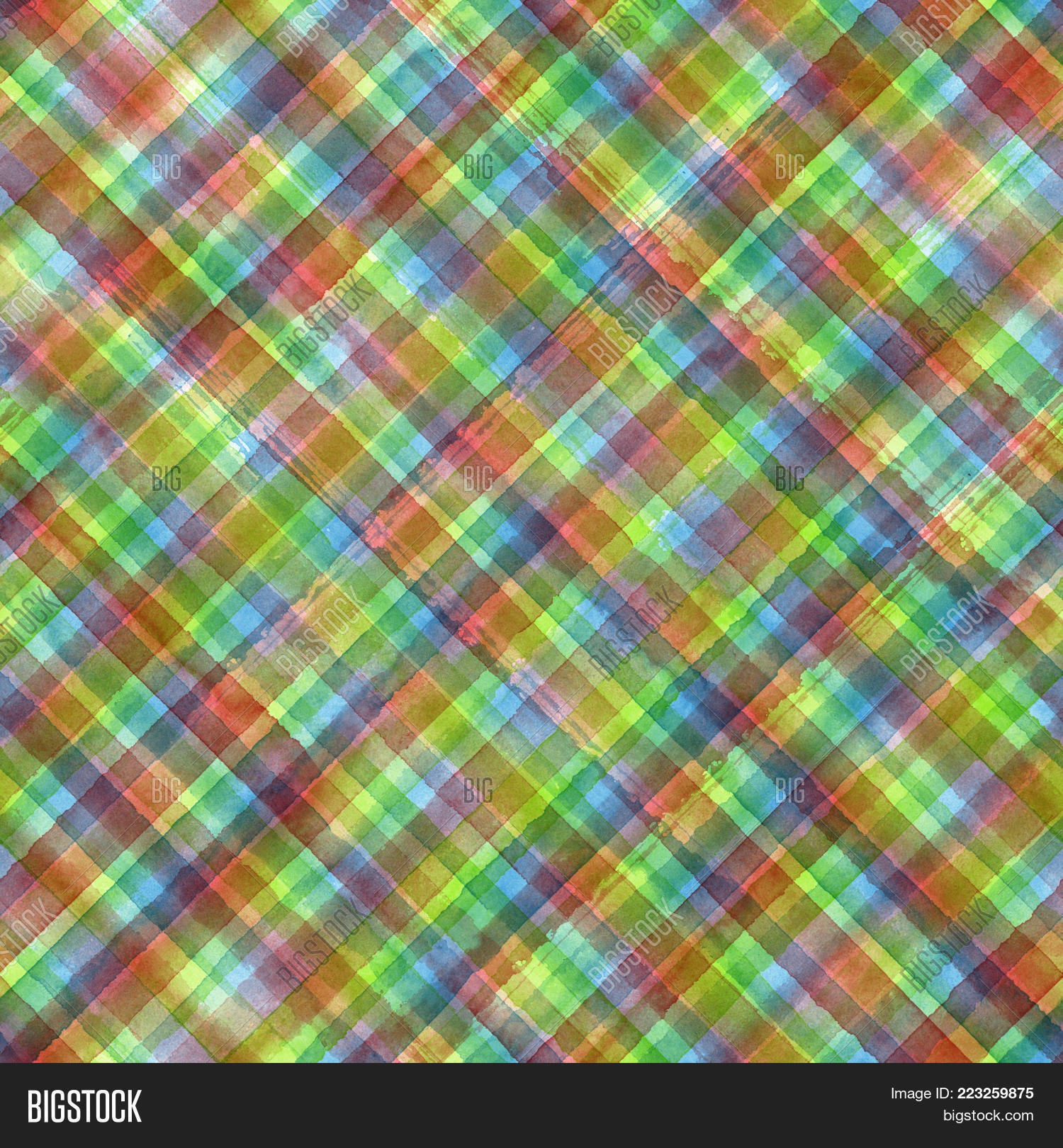 Colorful Grunge Madras Tartan Plaid Diagonal Abstract Geometric Seamless Background Watercolor Hand Drawn Pattern