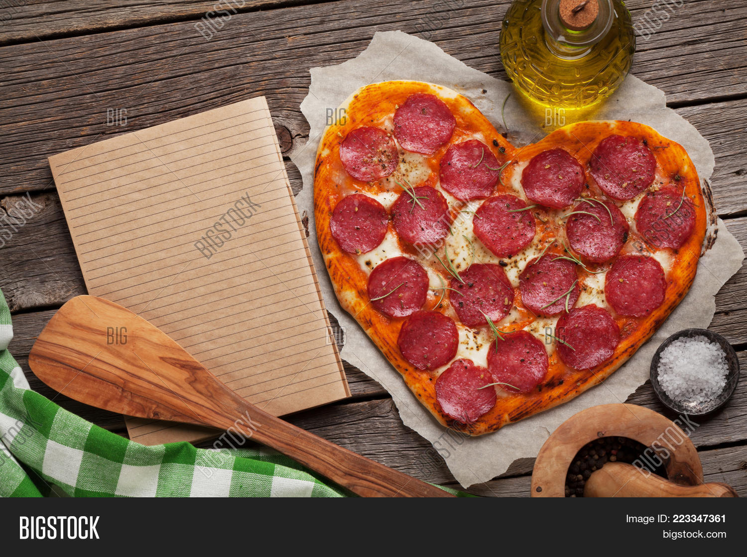 copy space heart shaped pizza powerpoint template copy space heart