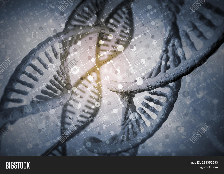 Evolution molecule background dna PowerPoint Template - Evolution ...
