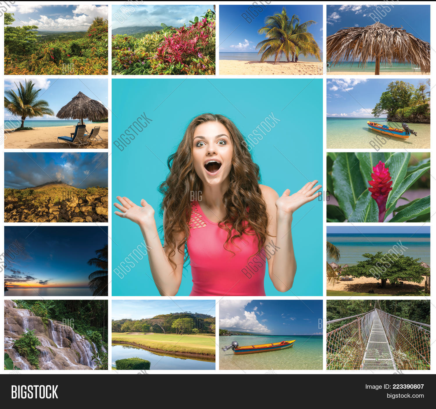 Collage With Happy Powerpoint Template PowerPoint