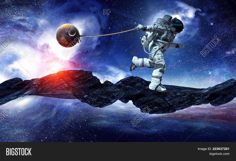 satellite catch fantasy spaceman powerpoint template satellite