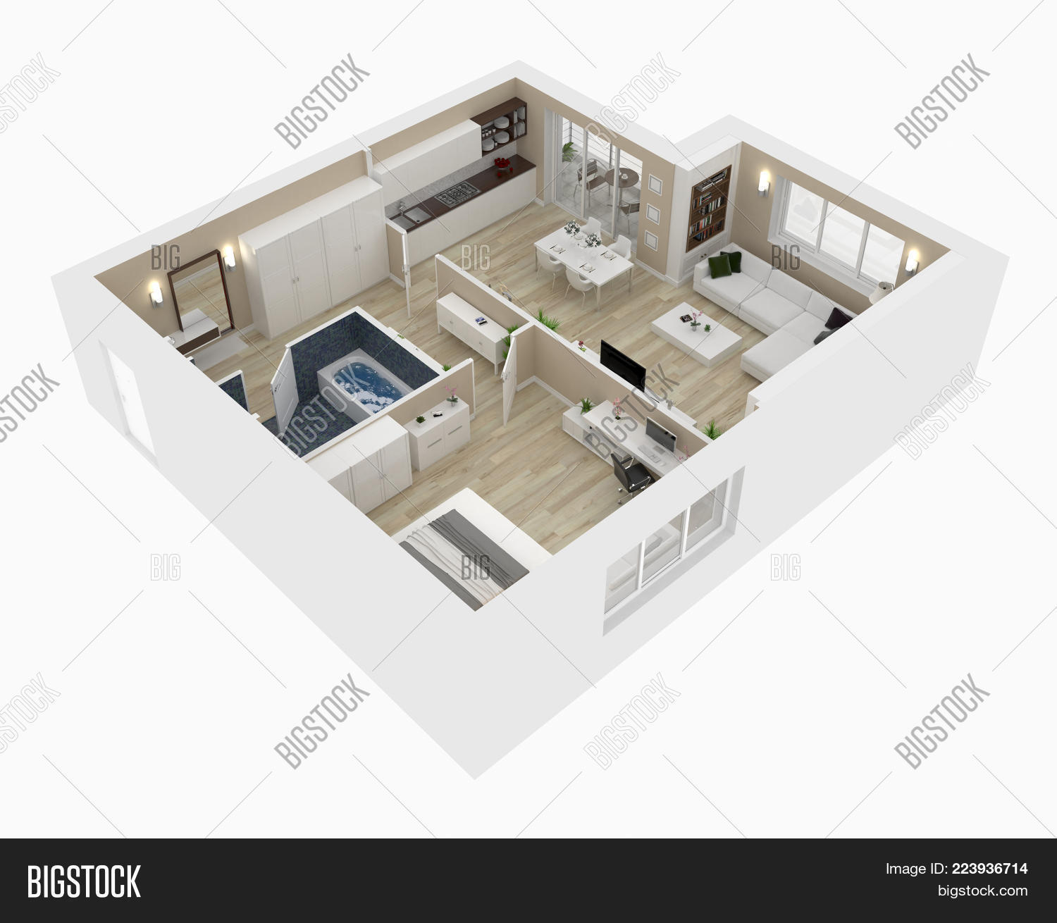 Perspective House Floor Plan Powerpoint Template Perspective House