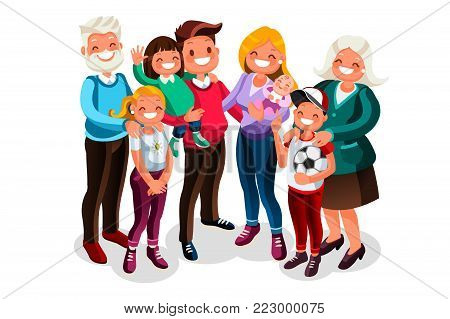 Vector family with baby mom dad portrait