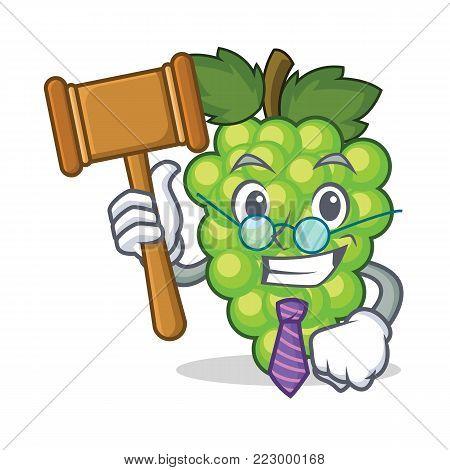 Judge green grapes mascot cartoon vector illustration