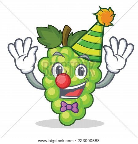 Clown green grapes mascot cartoon vector illustration