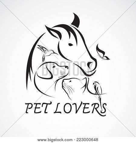 Vector group of pets - Horse, dog, cat, bird, butterfly, rabbit isolated on white background. Pet Icon, Easy editable layered vector illustration.