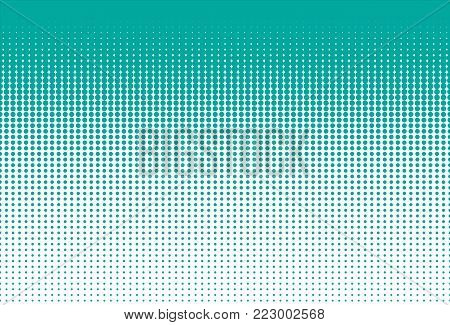 Halftone dots. Dotted gradient. Monochrome dots texture backdrop. Green dots on white background. Vector illustration