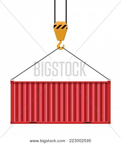 Crane hook lifts metal cargo container. Freight cargo transportation nad logistics. Vector illustration in flat style