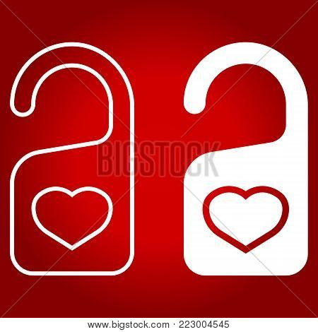 Do not disturb with heart line and glyph icon, valentines day and romantic, door hanger sign vector graphics, a linear pattern on a red background, eps 10.