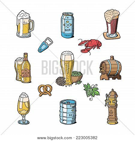 Beer in beerhouse brewery vector beermug or beerbottle and dark ale or beerbarrel in bar on beery party with alcohol set illustration isolated on white background.