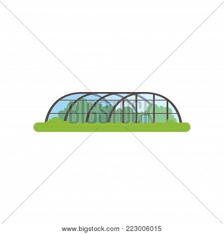 Greenhouse with glass walls, farm building vector Illustration on a white background
