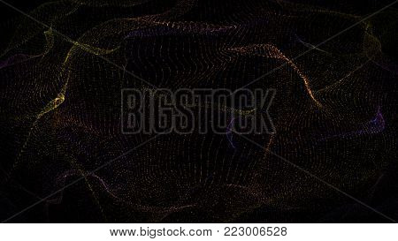 Futuristic glowing random color bokeh dots lines particles digital wave, canvas, landspace, HUD element, Technology concept, vibration creative design abstract background. 3d rendering