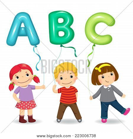Vector illustration of cartoon kids holding letter ABC shaped balloons