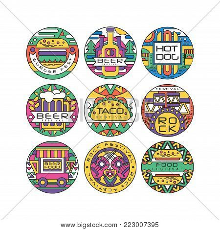 Food festival logo set, Burger Fest, Beer Festival, Hot Dog, Tako Festival, Rock food and music round labels or stickers vector Illustrations on a white background