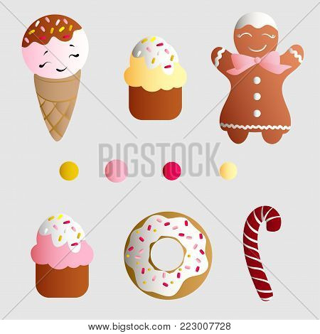 Drawing of a set with ice lolly, cookies, donuts with cream, cupcakes, bonbon and sprinkles with smile faces and colorful round candy on a light gray monochromatic background