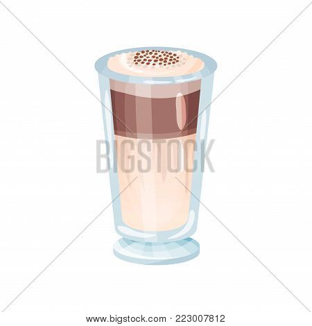 Latte macchiato layered coffee glass cartoon vector Illustration on a white background