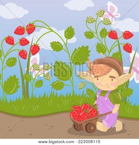 Cute cartoon troll with farmer wooden cart full of strawberries, green summer landscape vector illustration in cartoon style