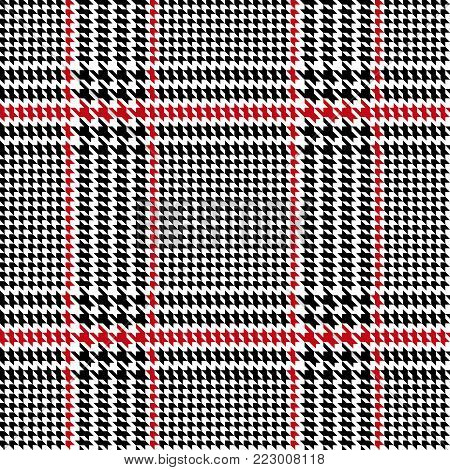 Check fashion tweed black and red seamless pattern with fabric imitation in white background for textile prints, wallpaper, wrapping.